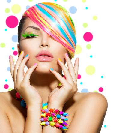 Photo pour Beauty Girl Portrait with Colorful Makeup, Nails and Accessories  - image libre de droit