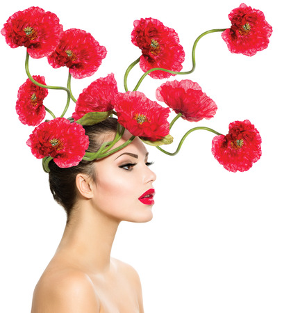 Photo pour Beauty Fashion Model Woman with Red Poppy Flowers in her Hair  - image libre de droit