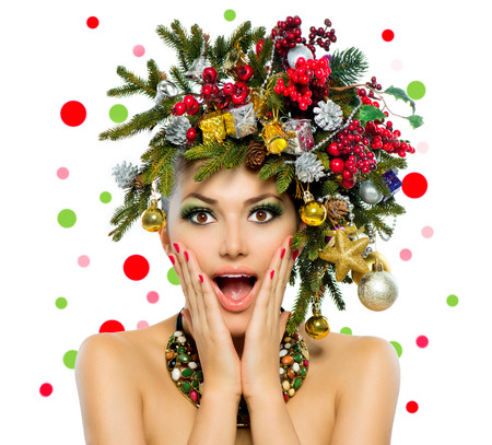 Foto de Christmas Woman  Christmas Tree Holiday Hairstyle and Make up  - Imagen libre de derechos