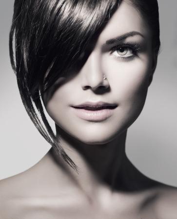 Photo pour Stylish Fringe  Teenage Girl with Short Hair Style  - image libre de droit