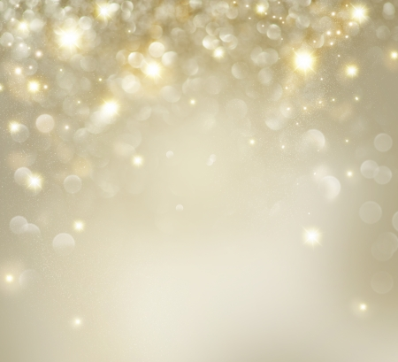 Photo pour Christmas  Golden Holiday Background With Blinking Stars  - image libre de droit