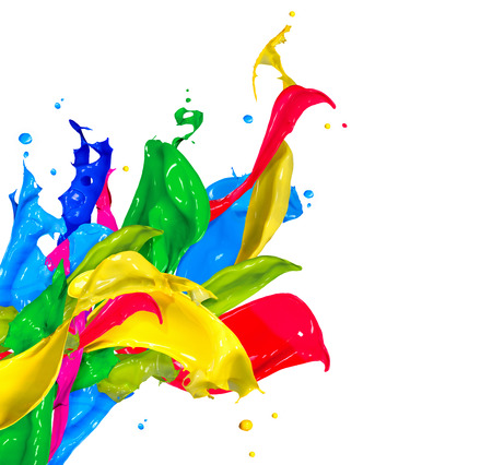 Photo for Colorful Paint Splash Isolated on White  Abstract Splashing - Royalty Free Image