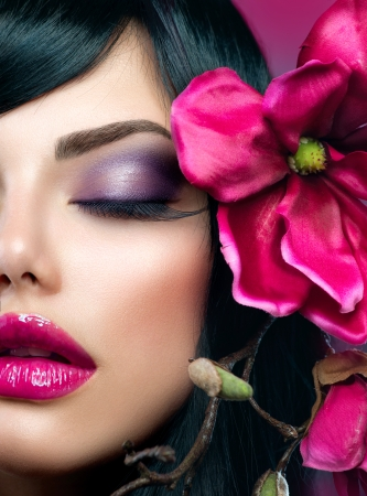 Photo for Perfect Holiday Makeup  Beauty Brunette Model Girl  - Royalty Free Image
