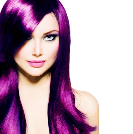 Photo pour Beautiful Girl with Healthy Long Purple Hair and Blue Eyes - image libre de droit