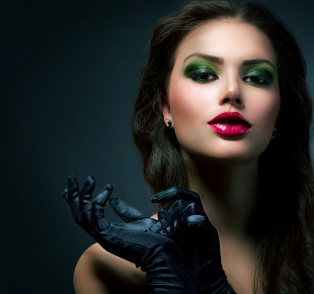 Beauty Fashion Glamour Girl  Vintage Style Model Wearing Gloves