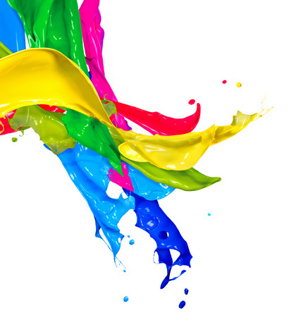 Photo pour Colorful Paint Splashes Isolated on White  Abstract Splashing  - image libre de droit