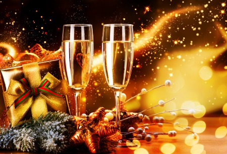 Photo pour New Year and Christmas Celebration  Two Champagne Glasses - image libre de droit