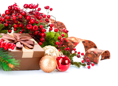 Photo for Christmas Decorations and Gift Box Isolated on White - Royalty Free Image