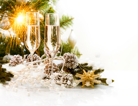 Photo pour Christmas Scene  New Year Card Design with Champagne  - image libre de droit