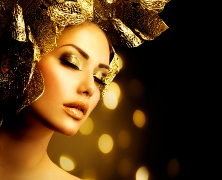 Foto de Fashion Glamour Makeup  Holiday Gold Make-up  - Imagen libre de derechos