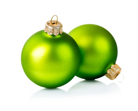 Photo for Christmas Green Decorations Isolated on White Background  - Royalty Free Image