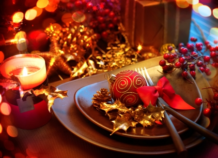 Photo for Christmas And New Year Holiday Table Setting  Celebration  - Royalty Free Image