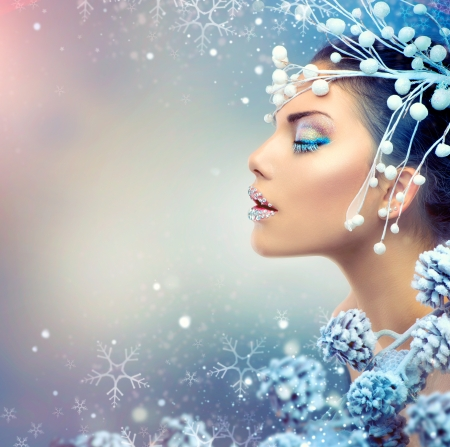 Photo for Winter Beauty Woman  Christmas Girl Makeup - Royalty Free Image