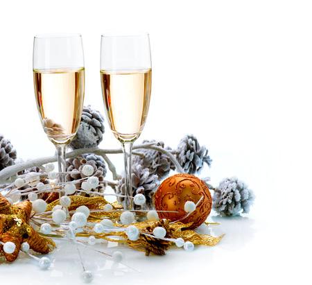 Foto de Two Champagne Glasses  Christmas Celebration - Imagen libre de derechos