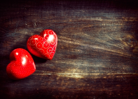 Photo for Valentines Vintage Handmade Couple Hearts over Wooden Background - Royalty Free Image