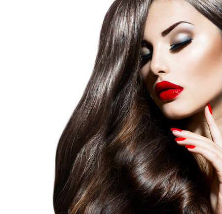 Photo pour Sexy Beauty Girl with Red Lips and Nails  Provocative Makeup - image libre de droit