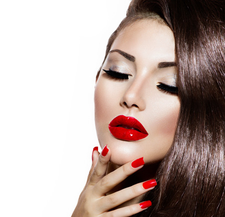 Photo for Sexy Beauty Girl with Red Lips and Nails  Provocative Makeup - Royalty Free Image