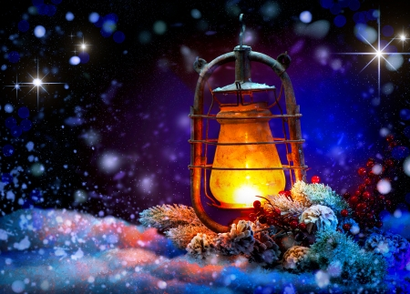 Photo for Christmas Lantern  Magic Stars  Winter Holiday Scene - Royalty Free Image