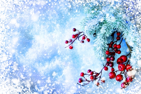 Foto de Christmas Tree and Decorations over Snow background - Imagen libre de derechos