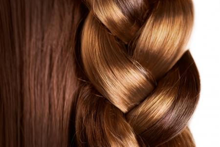 Foto de Braid Hairstyle  Brown Long Hair close up  Healthy Hair - Imagen libre de derechos