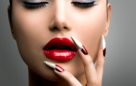 Photo for Fashion Beauty Model Girl  Manicure and Make-up  Nail art - Royalty Free Image