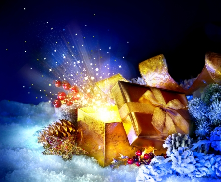Photo pour Christmas Gift Box with miracle  Magic Stars and Light - image libre de droit