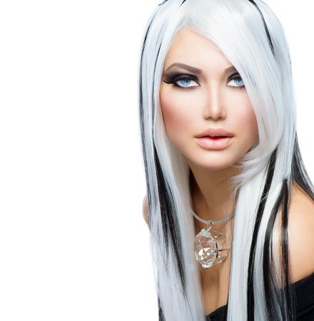 Photo pour Beauty Fashion Girl black and white style  Long White Hair - image libre de droit