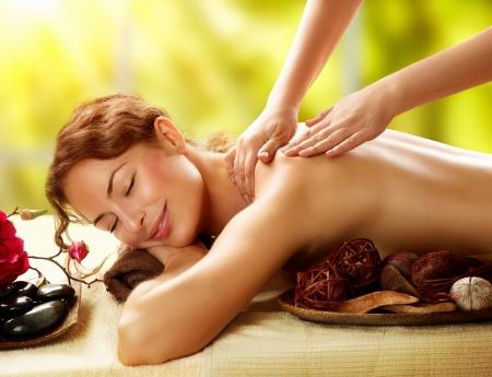 Spa Beautiful Woman in Spa Salon getting Massage