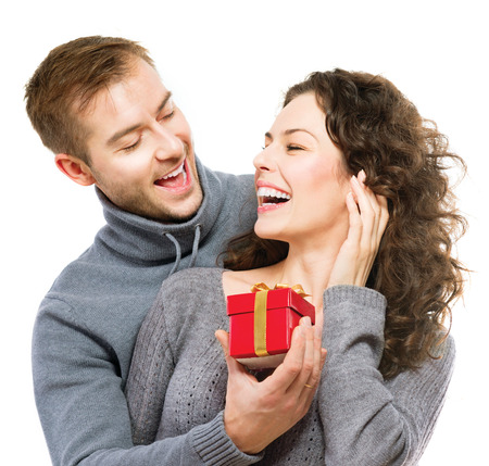 Photo for Valentine Gift  Happy Young Couple with Valentine s Day Present - Royalty Free Image