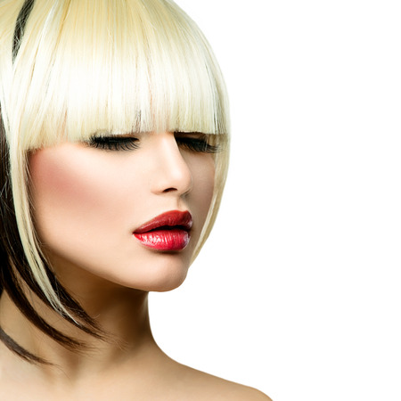 Photo for Beautiful Fashion Woman Hairstyle for Short Hair  Fringe Haircut  - Royalty Free Image