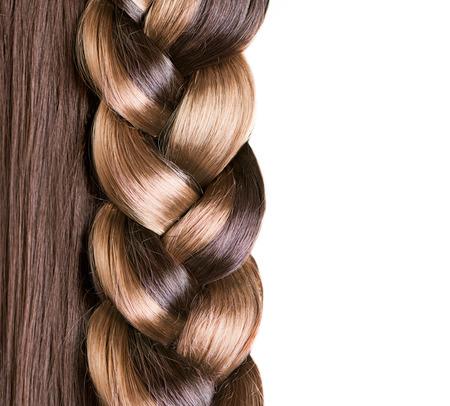 Photo pour Braid Hairstyle  Brown Long Hair close up  Healthy Hair  - image libre de droit