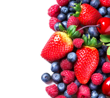 Photo pour Berries border isolated on White  Spring Organic Berry - image libre de droit
