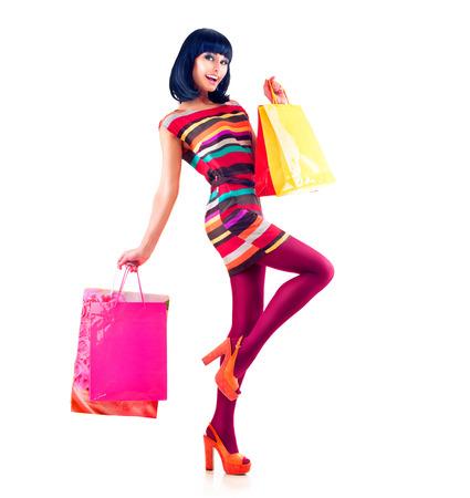 Foto de Fashion Shopping Model Girl Full Length Portrait - Imagen libre de derechos