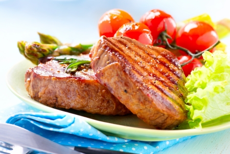 Photo for Steak  Grilled Beef Steak Meat with Vegetables - Royalty Free Image