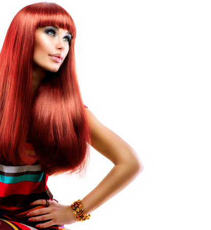 Photo for Healthy Straight Long Red Hair  Fashion Beauty Model Girl - Royalty Free Image