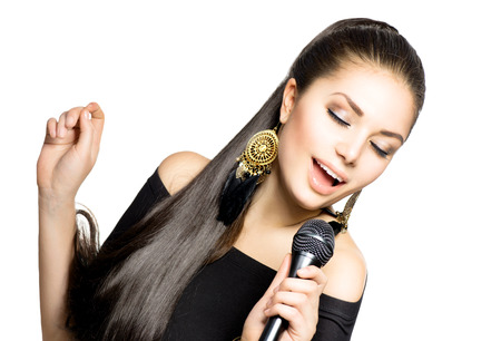 Photo for Singing Woman  Beauty Woman with Microphone - Royalty Free Image
