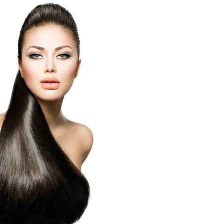 Photo pour Fashion Model Girl with Long Healthy Straight Hair - image libre de droit