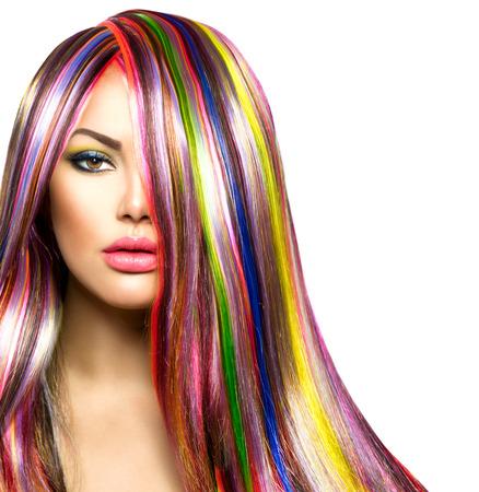 Foto de Colorful Hair and Makeup  Beauty Fashion Model Girl - Imagen libre de derechos