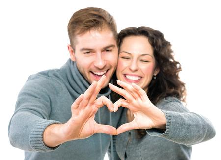 Photo pour Valentine couple isolated on white background - image libre de droit