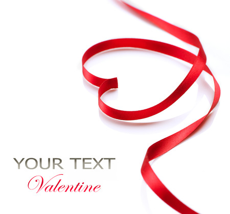 Photo for Valentine Heart  Red Silk Ribbon  Love Symbol  - Royalty Free Image
