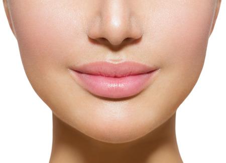 Photo pour Beautiful Perfect Lips  Sexy Mouth Closeup over white - image libre de droit