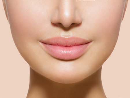 Photo for Beautiful Perfect Lips  Sexy Mouth Closeup over white - Royalty Free Image