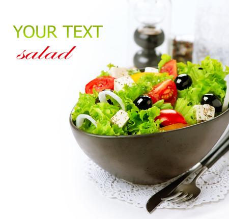 Photo pour Mediterranean Salad  Greek Salad isolated on a White Background - image libre de droit
