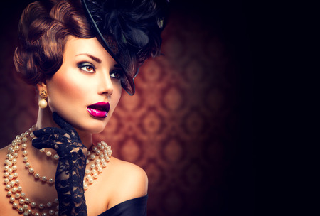 Photo for Retro Woman  Vintage Styled Girl with Retro Hairstyle and Makeup - Royalty Free Image