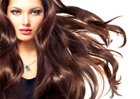 Photo pour Fashion Model Girl Portrait with Long Blowing Hair - image libre de droit