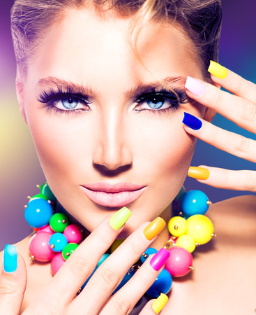 Photo for Fashion beauty model girl with colorful nails - Royalty Free Image
