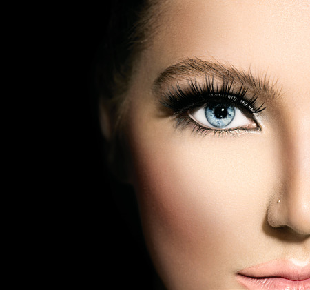 Photo pour Beauty makeup for blue eyes  Part of beautiful face closeup - image libre de droit