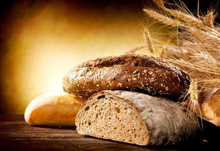 Photo for Bakery Bread on a Wooden Table - Royalty Free Image