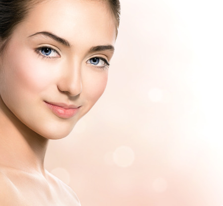 Foto de Spa girl  Natural beauty teen model girl face closeup - Imagen libre de derechos