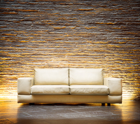 Photo for Modern style interior design  Leather beige sofa - Royalty Free Image